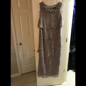 NWT R & M Richards Formal Beige Gown Sized 14